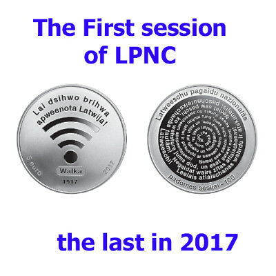 Latvia 2017 The First session of LPNC 5 euro silver coin, munze NEW in the BOX