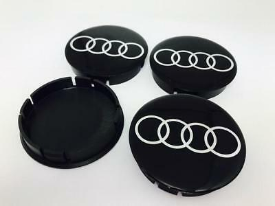 AUDI Wheel Center Hub Caps Silicone For Alloy Wheels Rims 55/60mm Set x4 Black