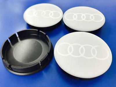 AUDI Wheel Center Hub Caps Silicone For Alloy Wheels Rims 55/60mm Set x4 Silver