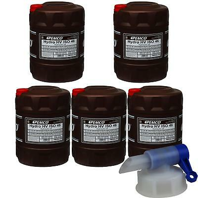 5 x 20 Liter Pemco Hydraulic Oil Hydro HV ISO 46 HKP 68 Oil incl. Drain Cock