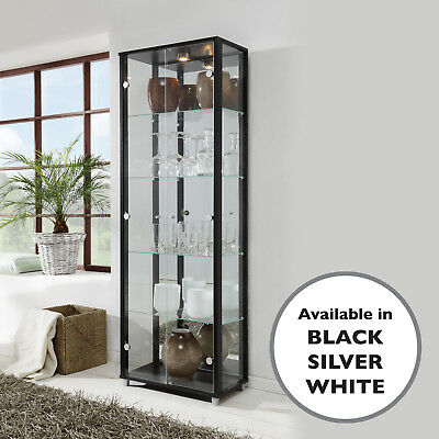 HOME Double Glass Display Cabinet White Black Silver Glass Shelves Mirror Back
