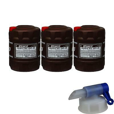 3X 20 Liter Pemco Hydraulic Oil Hydro HV ISO 46 HKP 68 Oil incl. Drain Cock
