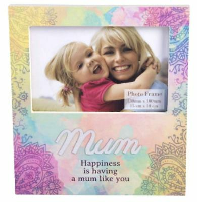 NEW Mum Rainbow Picture Frame Mother Wooden Photo Mother's Day Gift Keepsake