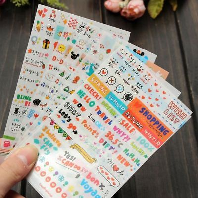 6pcs/set Colorful Calendar Scrapbook Diary Book Decor Paper Planner Sticker DIY