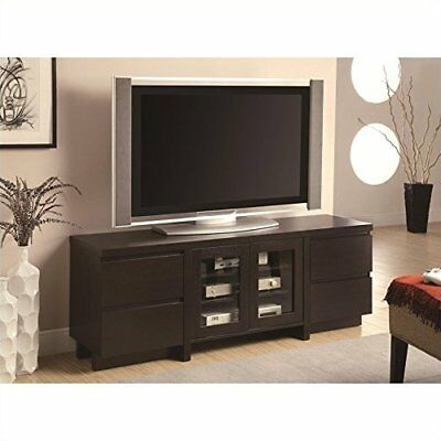 Entertainment Center Glass Low Profile Tv Console With Doors In