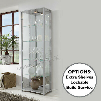 7ba3dfe48 HOME Double Silver Glass Display Cabinet Glass Shelves Mirror Back Lock