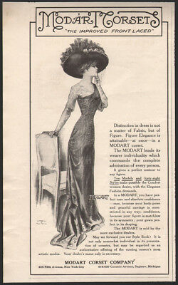 1910 Modart Corsets ad The improved front laced