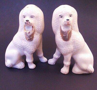 Antique Porcelain Poodle Pair, Styled Like a Staffordshire Set, Salt and Pepper