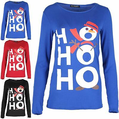 Ladies Xmas Top Womens Muffler Ho Ho Snowman Hat Christmas Jersey Mini T Shirt