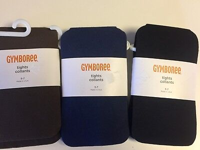 Gymboree Size 5-7 Tights Lot of 3 Black Navy Brown NWT