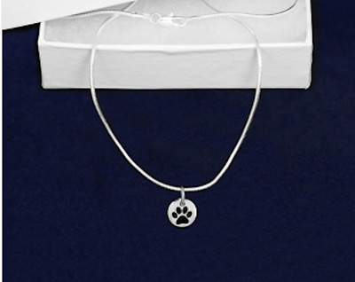 Sterling Silver-Plated Circle Paw Print-Dog Necklace - 100% SALE BENEFITS RESCUE