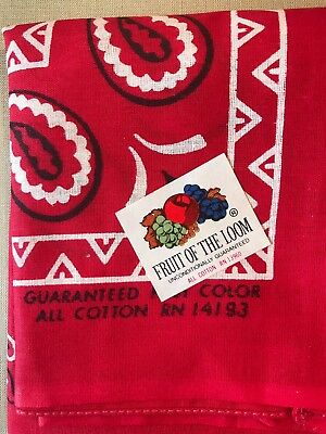 Vintage NOS 1960's Fruit of the Loom Bandana / All Cotton / Iconic Design/Color