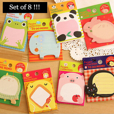 Set of 8: Animal Pet Sticky Notes Post It Sticker Marker Memo Flags