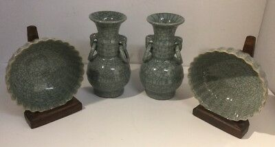 Pair Of Guan Ware Chinese Green Crackle Glaze Vases & Matching Bowls. Song Style