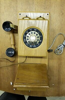Columbia Tel-com HAC Wood 1  **  Wired Phone Rotary Retro Old Fashioned Antique