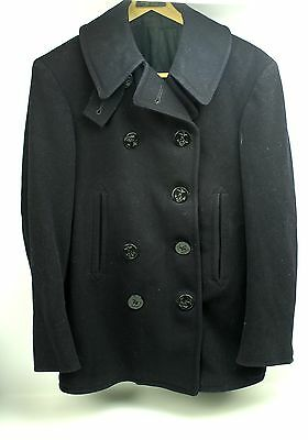 WWII vintage USN Navy Wool Peacoat 10 Button Corduroy Pockets - Maybe Mens Small