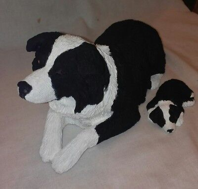 Sandicast signed Border Collie & Pup Figurines