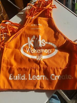 One New Home Depot Kids Workshop Orange Apron Build Learn Create Girls Boys