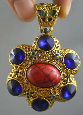 Collectable Handwork Decor Copper Carve Flower Inlay AGate Bead Noble Pendant
