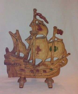 Vintage Antique Door Stop Cast Iron Galleon, Sailing, Pirate Ship