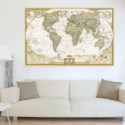 Vintage World Map Wall Art Poster Glossy Antique Retro Uncharted Many Sizes UK