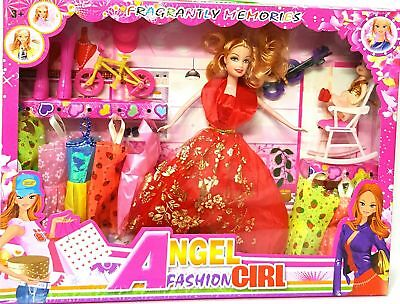 15Pc Girls Doll Fashion Play Set Accessories Clothes Style Xmas Toy Gift Angel
