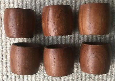 Set of Six Vintage Teak Napkin Rings Retro 60's