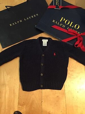 Ralph Lauren Designer Baby Boys Girls Blue Cardigan Jumper Red Logo 9-12m
