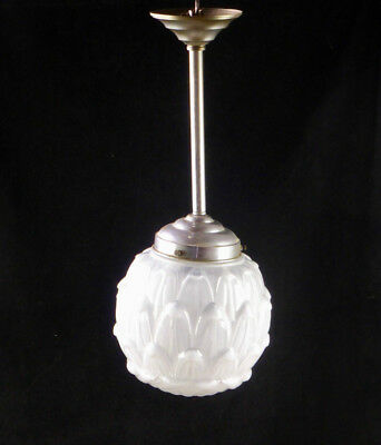"Antique French 19"" Globe Ceiling Light Fixture Chrome Artichoke c1920 Art Deco"
