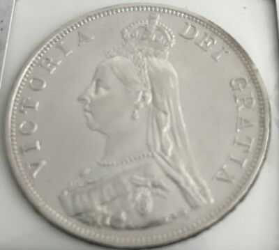1887 Queen Victoria Great Britian Double Florin Silver Almost Uncirculated Cond