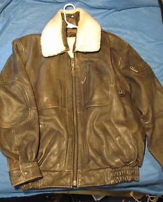 Distressed Leather Bomber Jacket with zip out Fur Lining Size Medium