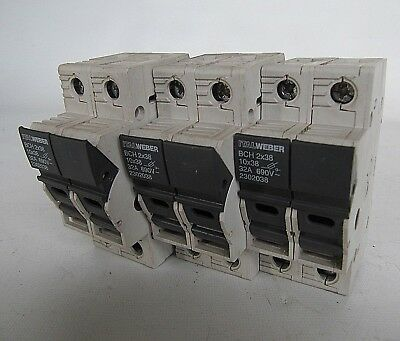 (LOT OF 3) ITALWEBER 10x38 32A 690V Class CC Double Fuse Holders BCH 2x38 230203