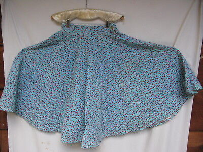 Vintage Quilted Circle Skirt 1950's Retro Hip Hop Rock Blue Floral Small