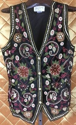 Vintage S Black Velvet Embroidered Floral Patchwork Vest Hippie BOHO Gypsy Chic