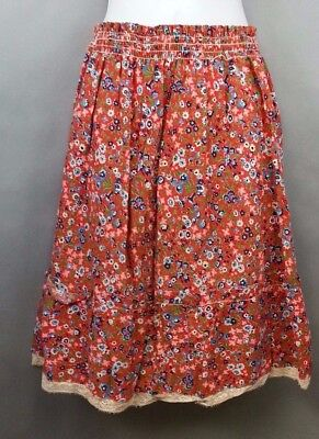 Vintage 70's Skirt Smocked Flower Print Size 10 Girls Skirt by Flamingo Fashions