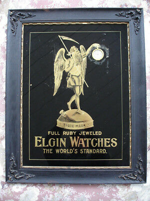 Elgin Pocket Watch Advertising Father Time Gold Leaf Jeweler Display Wrist