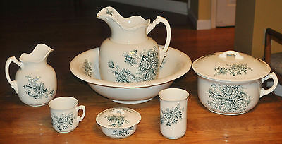 Lovely 7-Piece Antique Pitcher Wash Bowl Set Buffalo Pottery Chrysanthemum Green