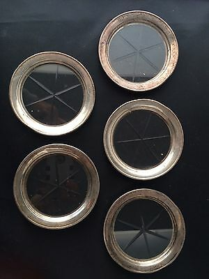 Vintage Sterling Silver And Cut Glass Coasters Set Of 5