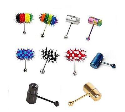 Vibrating SSteel TONGUE RING Body Jewelry with 2 Batteries Included Choose Color