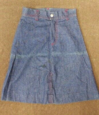 Original True Vintage Retro 70's Skirt JCPenneys Blue Denim Size 8 Girls