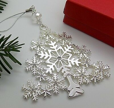 SWAROVSKI ELEMENTS Crystal Bead Silver Plated CHRISTMAS TREE Ornament Decoration