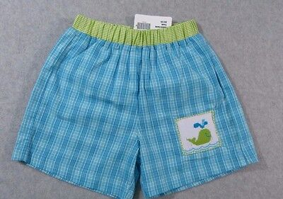 New! Boutique Cukees Smocked Swim Trunks Shorts ~ Blue Lime Plaid Whale ~ 3T