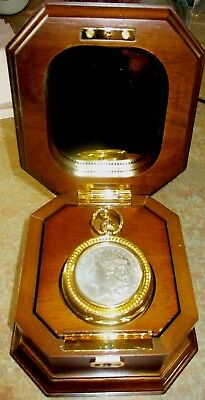 Estate Never Used Franklin Mint US SIlver Dollar Pocket Watch+Stand Mint Cond