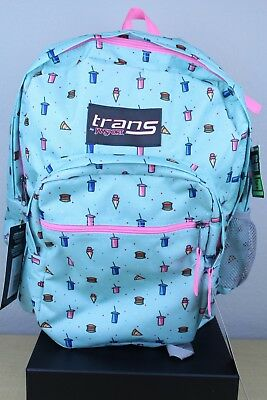 "Trans by JanSport 17"" SuperMax Backpack - Munchies Blue Pink School Brand NEW"