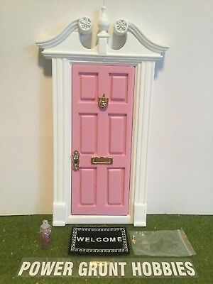 Fairy Door Light Pink Deerfield Style With Gold Key, Mat, Fairy Dust & Foot Step