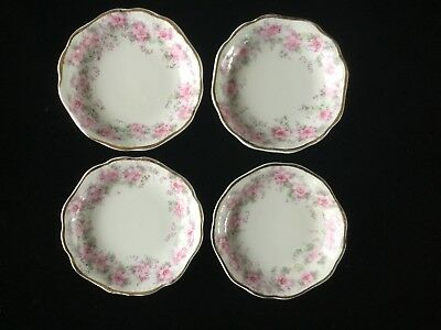 Set of 4 Johnson Bros ~ Butter Pats ~ Pink Roses Gold Trim ~ Scalloped Rim