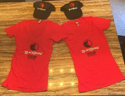 Blackbeard Rum 2 cute Womens Medium shirts & hats PIRATE Jolly Roger Booty Promo