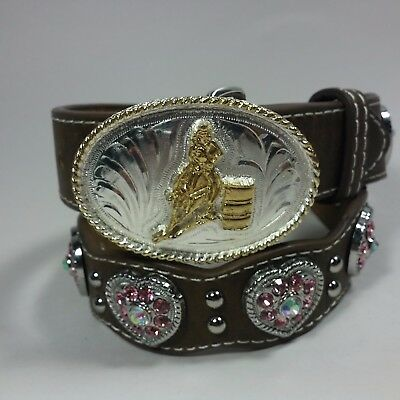 Nocona Leather Western Belt Pink Rhinestone Hearts BARREL RACING Rodeo Buckle-24