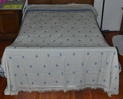 """Antique CREAM LIGHT WEIGHT WOOL BLANKET w BLUE EMBROIDERY FRINGED 180""""x220"""" 4684"""