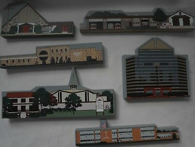 Lot of 6 My Home Towne School Church Bank Delaware Wooden Village 1996 EXCELLENT